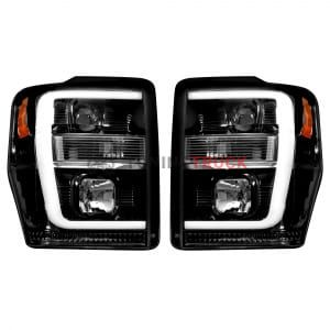 Ford Superduty 08-10 F250/F350/F450/F550 PROJECTOR HEADLIGHTS - Smoked / Black