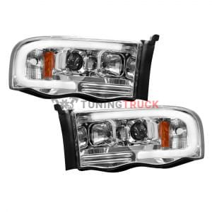 Dodge RAM 02-05 1500/2500/3500 PROJECTOR HEADLIGHTS w/ Ultra High Power Smooth OLED HALOS & DRL - Clear / Chrome
