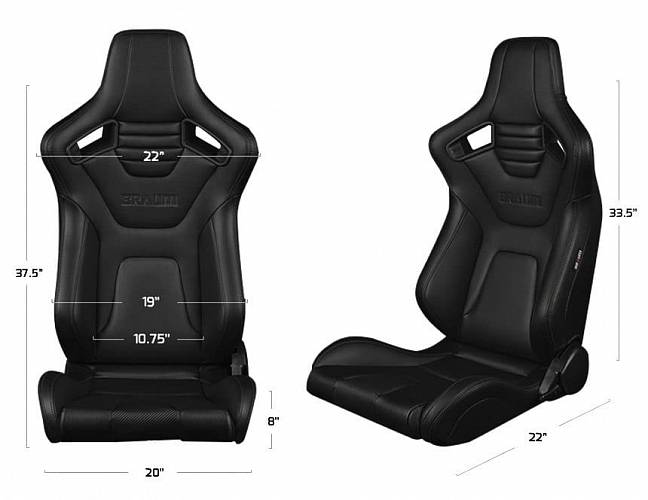 Спортивные сиденья анатомические серии Elite-X Series Sport Seats - Black Diamond (Double Grey Stitching / Black Piping)